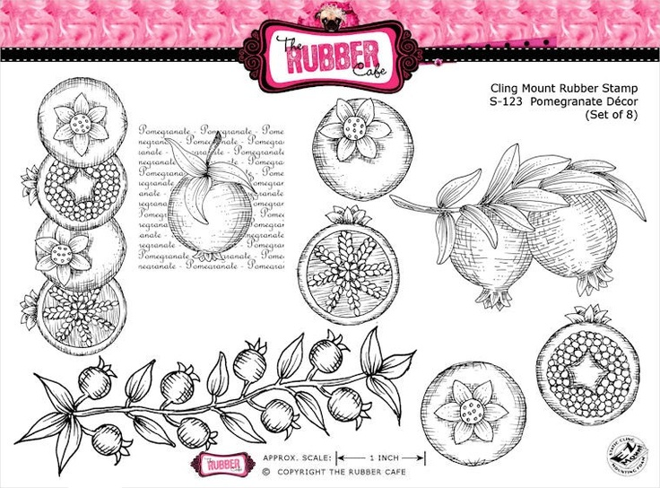 Pomegranate Decor - Cling Mount Rubber Stamp Set from The Rubber Cafe