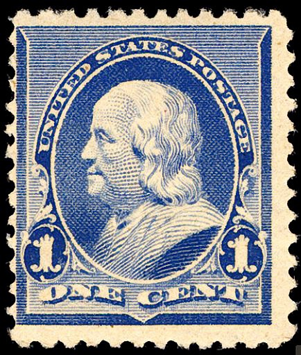 1 Cent 1890 93 Series United States Postage Stamp Perforated 12 Depicting Benjamin Franklin