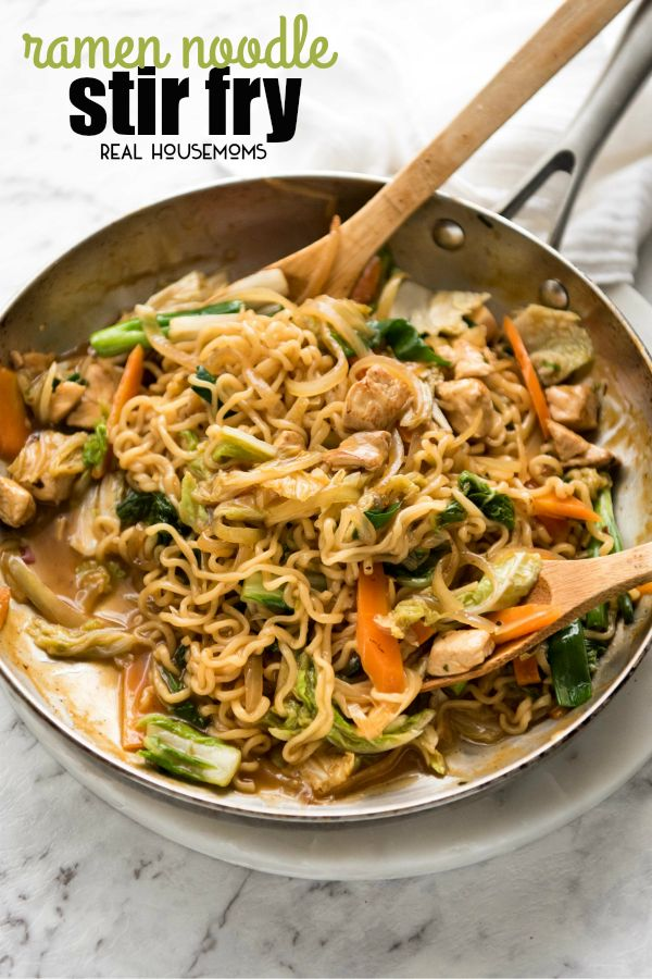 Keep this Ramen Noodle Stir Fry in your back pocket for busy nights when you need a quick meal! Completely customizable, the beauty of this recipe is that you use the ramen soup packets from instant ramen packets to make the stir-fry sauce. #Stirfry #Easydinner #Realhousemoms