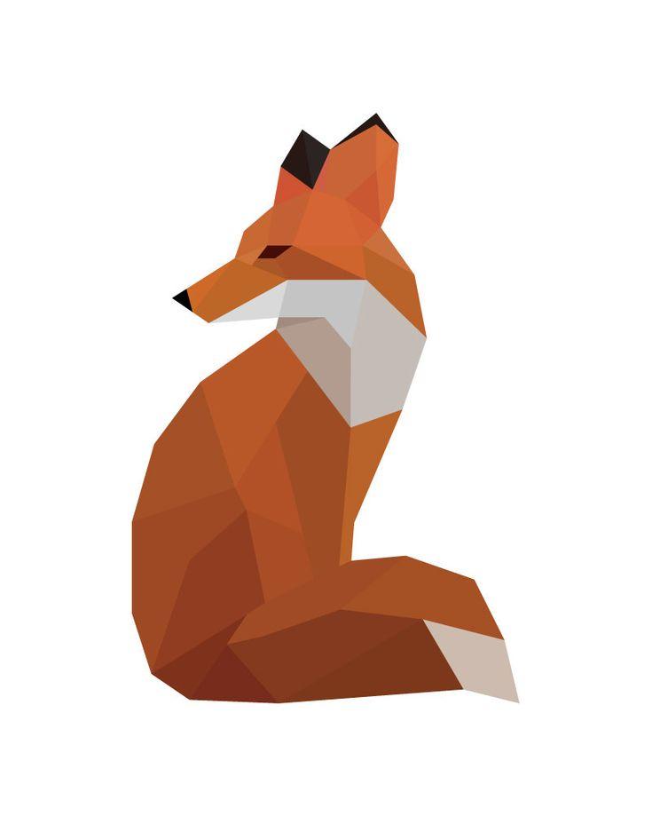 Geometric fox Red fox Fox geometric Fox print от BeccaAnnDesigns