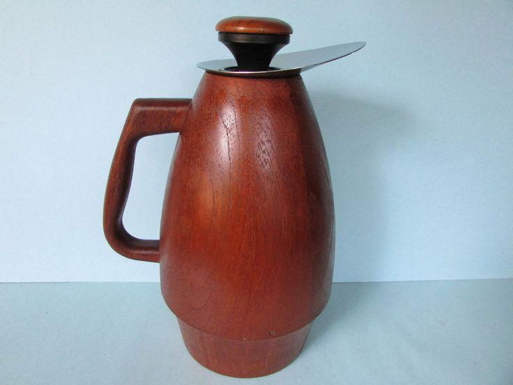 Rare Anri Form Teak Coffee Carafe, MidCentury Danish Modern Wood Thermos, glass #MidCenturyModern #AnriForm