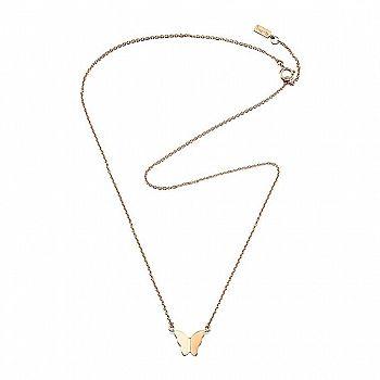 www.presentjakt.se: Ett enkelt men väldigt vackert halsband med en fjäril. Kedja och smycke i 18k guld. Designat av Efva Attling.