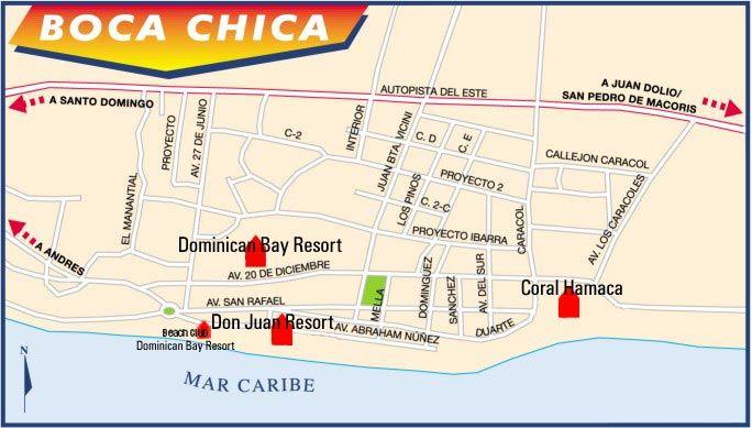 Dominican republic, boca chica map