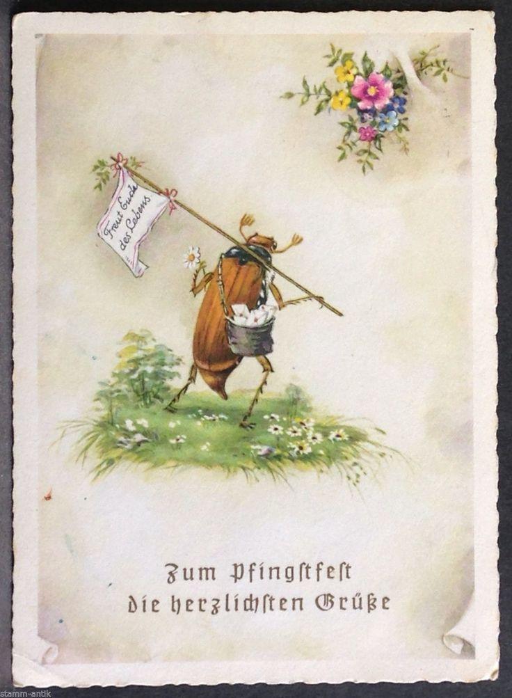 Postbote Käfer mit Taschentuch Fahne,Blumen,Pfingsten Ansichtskarte von 1959 | eBay