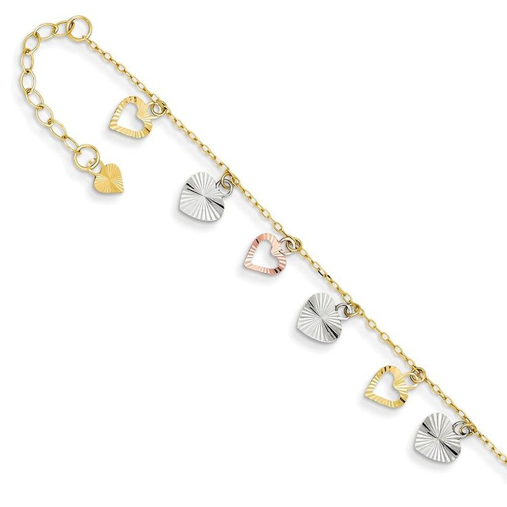 14K Tri-Color Adjustable Heart Anklet >>> Want to know more, click on the image. (This is an Amazon Affiliate link and I receive a commission for the sales)