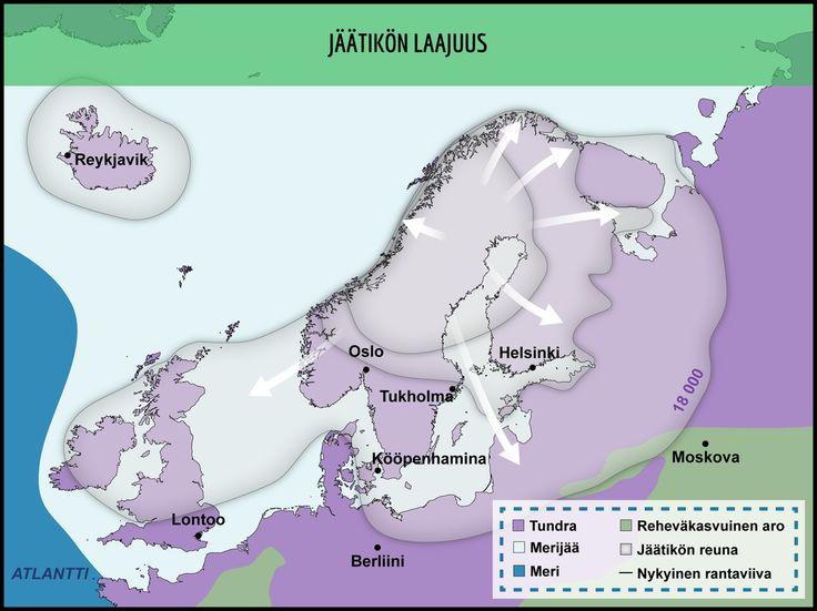 Jäätikkö eteni Skandeilta. Kartassa on kuvattu jäätikön laajuus 18 000 vuotta sitten. Huomaa, että Itämeren ja Pohjanmeren alue oli jääpeitteen alla.