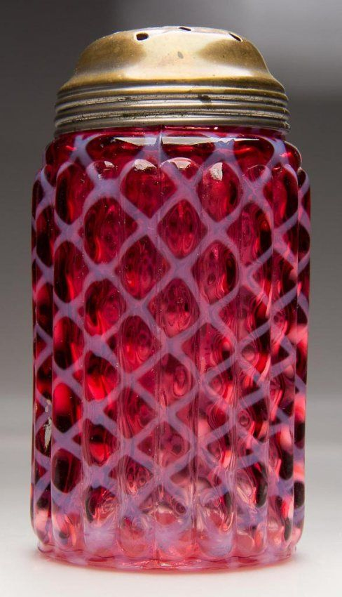 ~ Lovely Cranberry Opalescent Glass Sugar Shaker ~ (Late 19th To Early 20th Century)