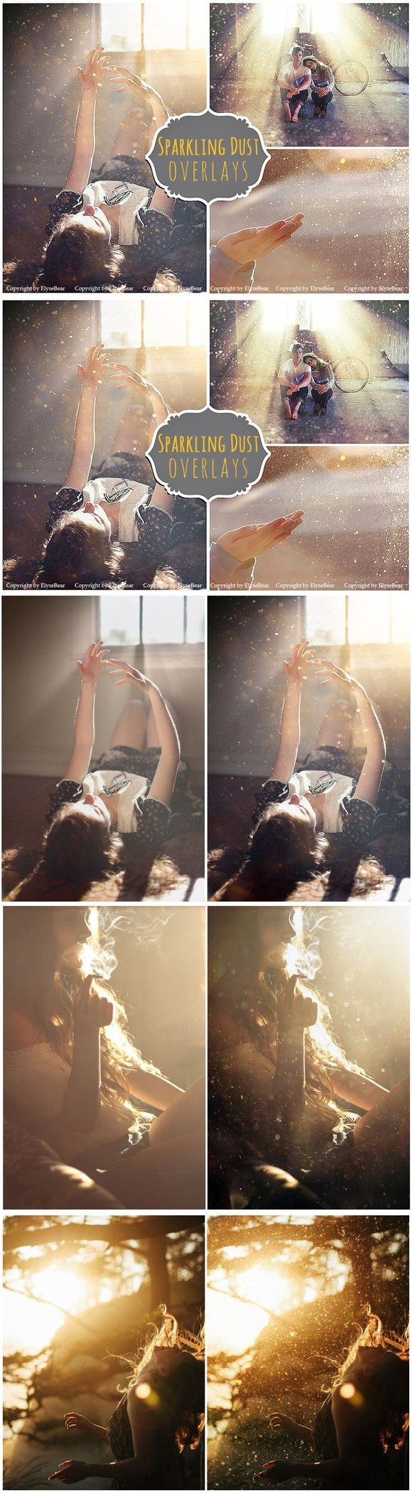 20 Sparkling Dust Photo Overlays JPG. Photoshop Actions. $10.00