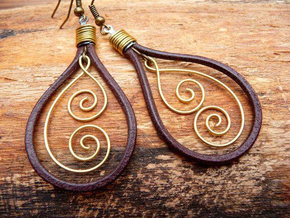 Meaningful Earrings  Leather & Koru  Maori symbol by ArohaJewelz