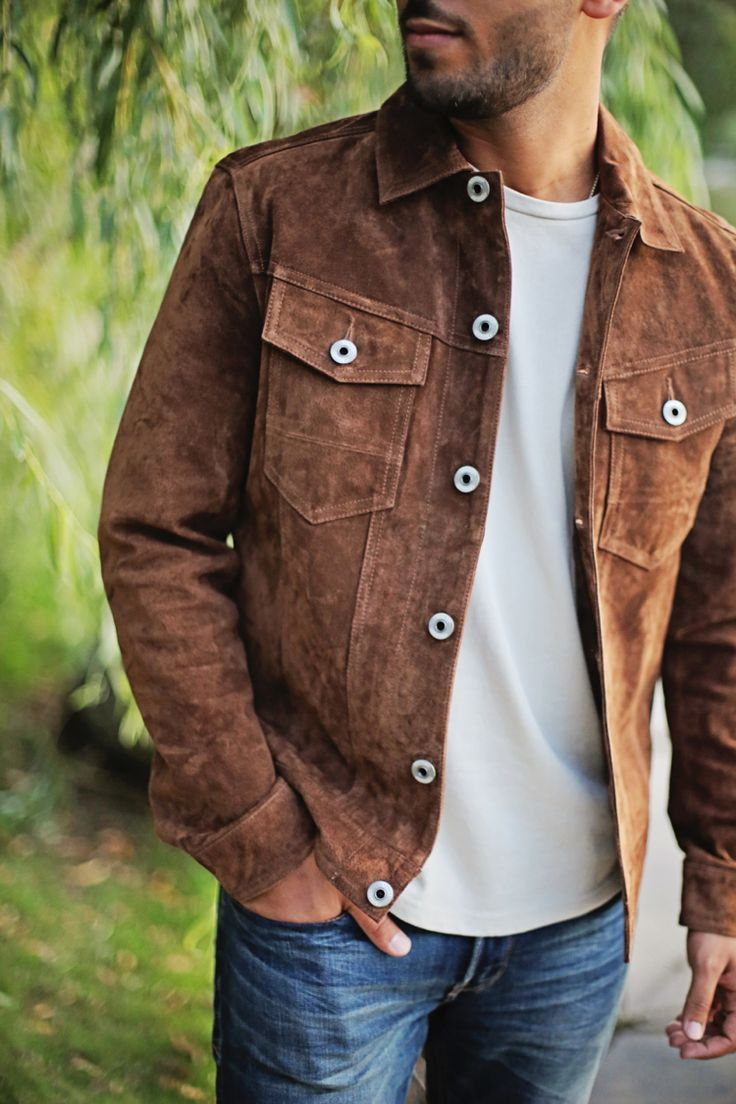 Brown suede jacket + white t-shirt + jeans