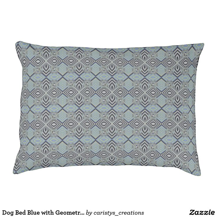 Dog Bed Blue with Geometric Pattern
