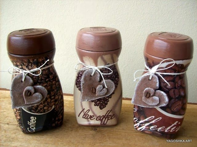 Słoiki kawowe ozdobione serduszkami z masy solnej