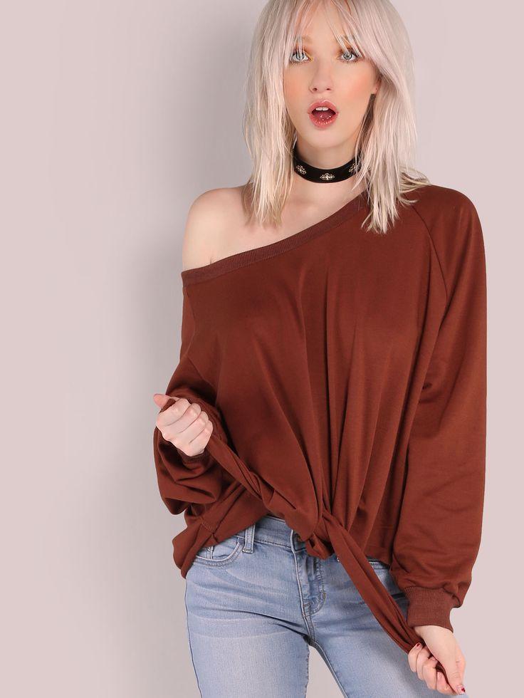 Shop Oversized Front Tie Pullover Sweatshirt RUST online. SheIn offers Oversized Front Tie Pullover Sweatshirt RUST & more to fit your fashionable needs.