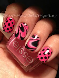 Pink and black dots/watermarble