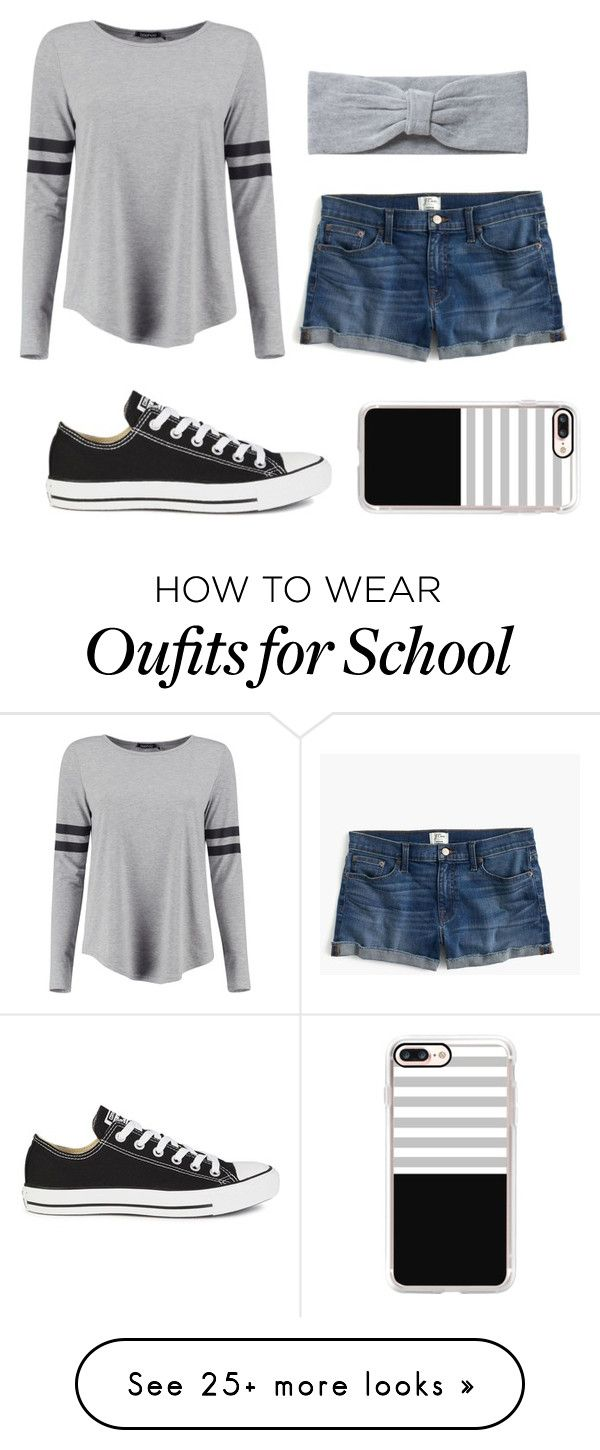 """School"" by gretchenlover on Polyvore featuring Boohoo, J.Crew, Converse, Pieces and Casetify"