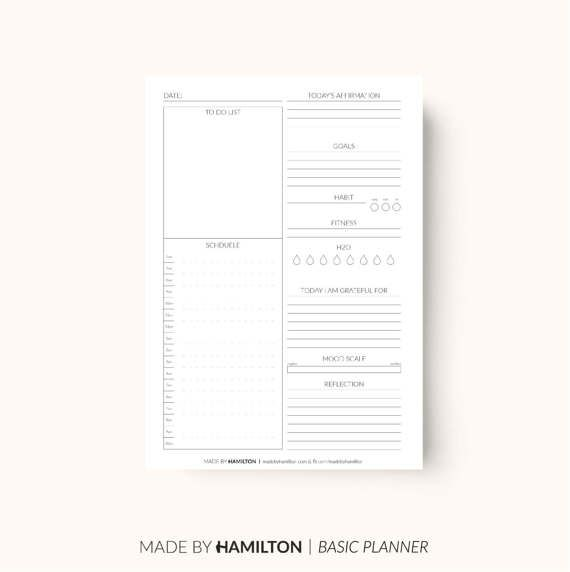 Daily Happiness Planner Basic Printable Instant by MadeByHamilton