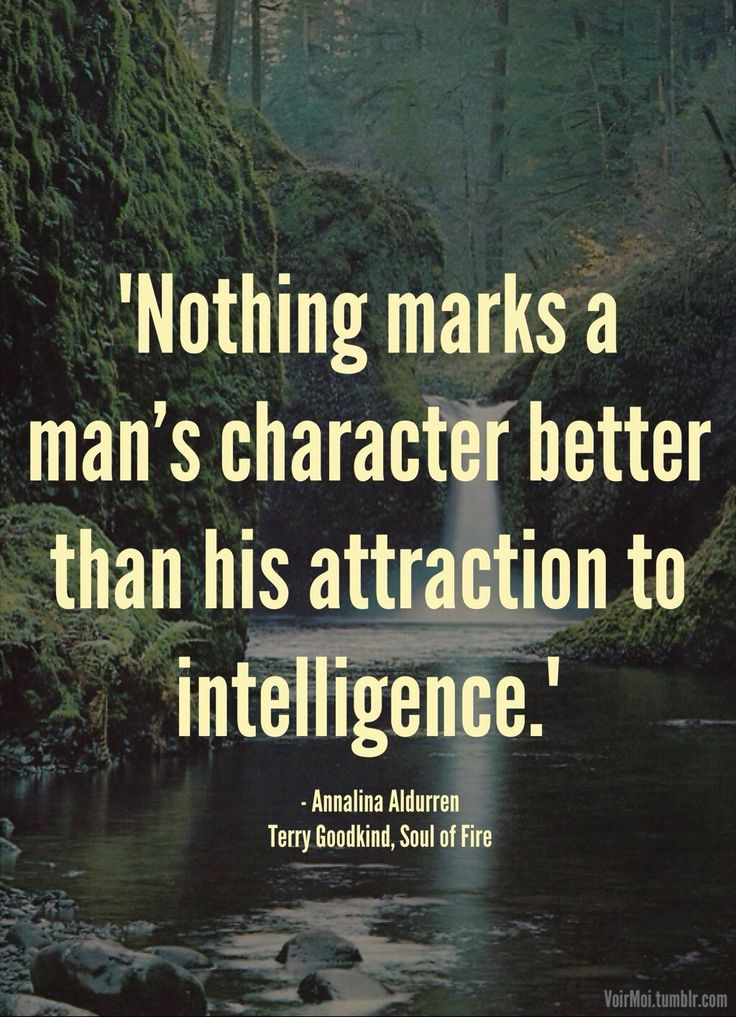 """""""Nothing marks a man's character better than his attraction to intelligence."""" - Annalina Aldurren - Terry Goodkind, Soul of Fire"""