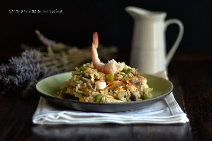 Arroz Thai Jasmine con langostinos y pollo con salsa agridulce de lima y jengibre   2Mandarinas en mi cocina