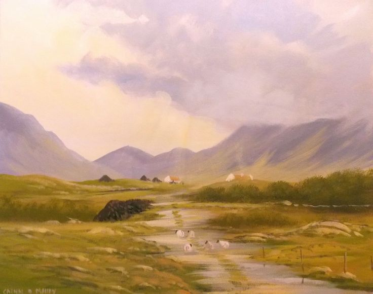 the old bog road,,,august - Painting,  2x16x20 in ©2013 by Cathal O Malley -              bog, road, connemara