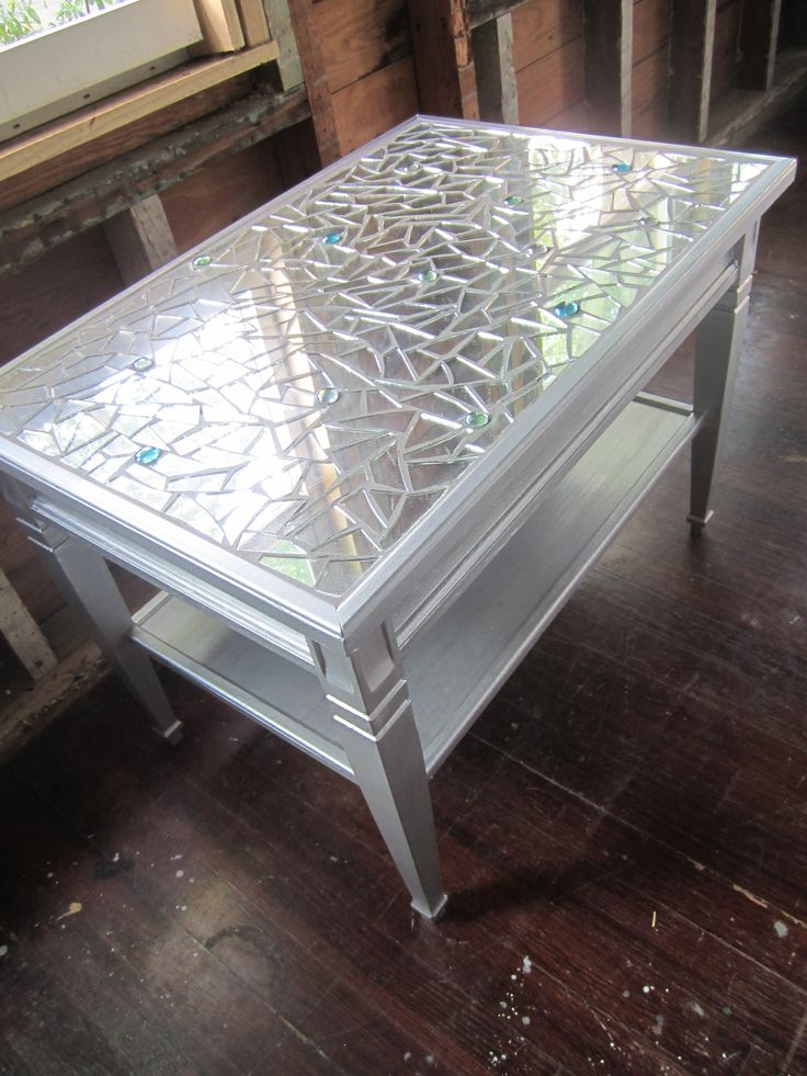 Mosaic Mirror Metallic Silver Coffee Table Or Side Table Glass Bead Embellishment Tables