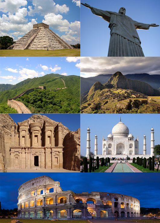 New7Wonders - Wereldwonderen  De New7Wonders of the World, van boven naar beneden en links naar rechts: Chichén Itzá (Mexico), Cristo Redentor (Brazilië), Chinese Muur (China), Machu Picchu (Peru), Rotswoningen in Petra (Jordanië), Taj Mahal (India) en Colosseum (Italië).