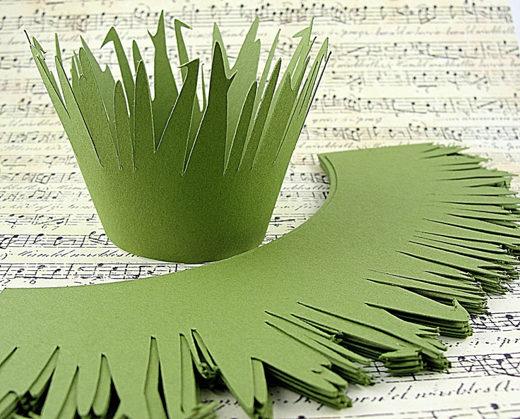Possibly make these?? Grass Cupcake Wrappers Moss Green Cardstock