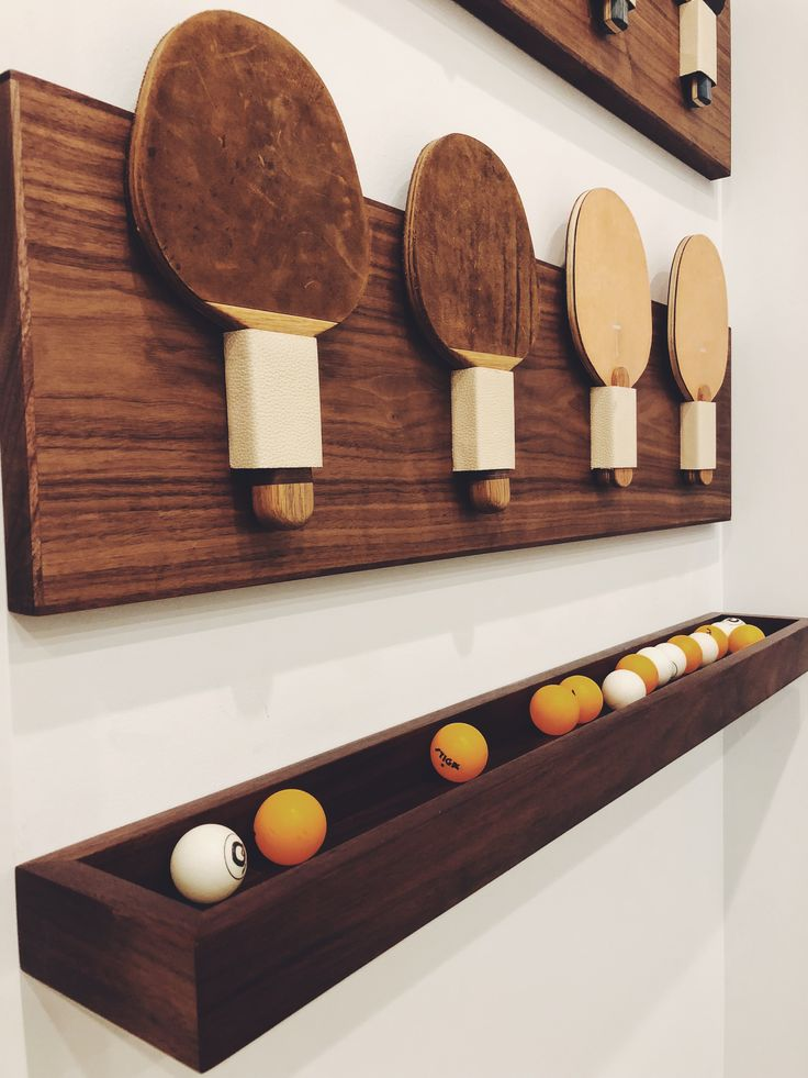 Table Tennis Room Design: Ping Pong Paddle And Balls Holder Made In Walnut