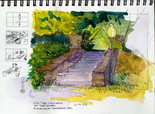 Watercolor Sketch - On the Grounds at the Elms   by Steve Penberthy