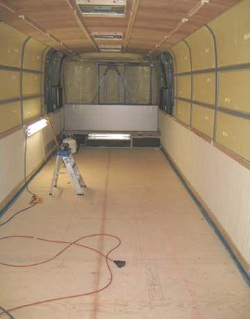 interior of tour bus before renovation