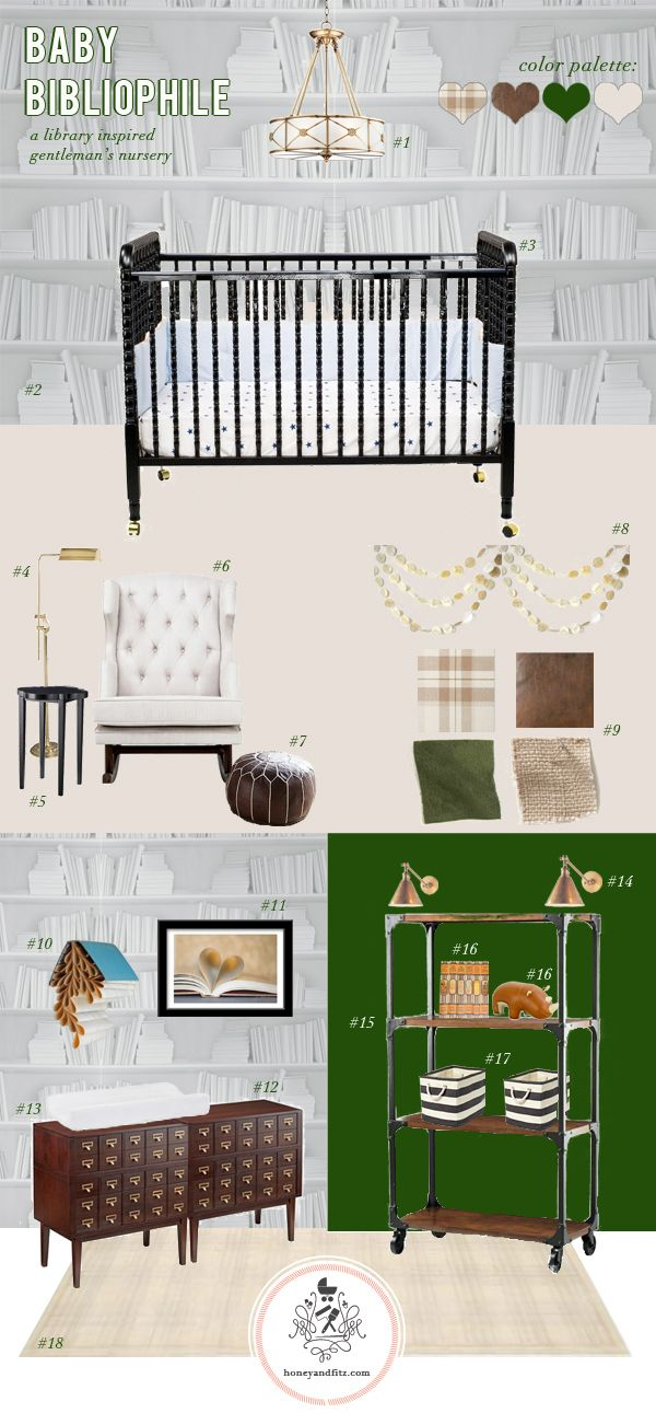 Inspiration Board:  Baby Bibliophile Library Inspired Nursery....i know it's a nursery but it's perfect inspiration as a standard library as well.