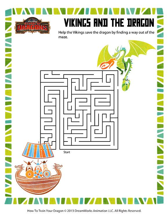 vikings and the dragon printable mazes worksheets drachen z hmen how to train a dragon. Black Bedroom Furniture Sets. Home Design Ideas