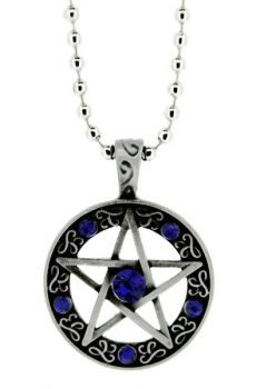 Pentagram Pendant Blue Stones - Necklace