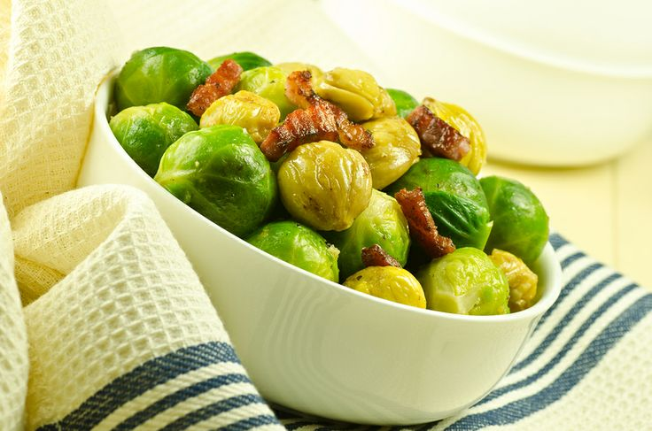 Roasted Brussels Sprouts with Chestnuts and Pancetta