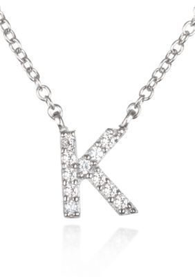 Belk  Co.  Platinum Plated Sterling Silver Cubic Zirconia Initial K Necklace