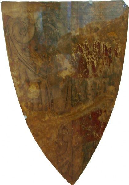 c.1300 - W. von Liederbach (Deutschordenskomtur) Gespalten: Vorn in Rot ein halber silberne Adler am Spalt, hinten in Silber zwei rote Balken Museum für Kulturgeschichte im Landgrafenschloß MarburgW-Logo.png Der Schild ist aus Lindenholzbrettern, beiderseits mit weißgarem Leder überzogen, Vorderseite über Kreidegrund gefaßt, auf dem das Wappen aufgemalt ist.