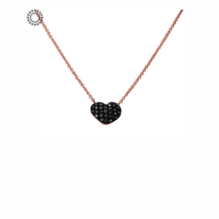 Μοντέρνο κολιέ από Κ18 ροζ χρυσό με κυρτή καρδιά γεμάτη από μαύρα διαμάντια | Κολιέ με διαμάντια online ΤΣΑΛΔΑΡΗΣ στο Χαλάνδρι #καρδιά #μαύρο #διαμάντια #κολιέ #κόσμημα
