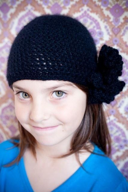 black soft merino wool crocheted  beanie with flower by petitus, $35.00