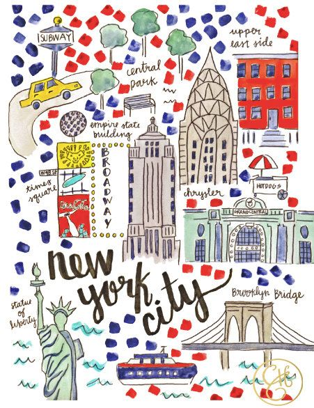 NYC Map Print by EvelynHenson on Etsy