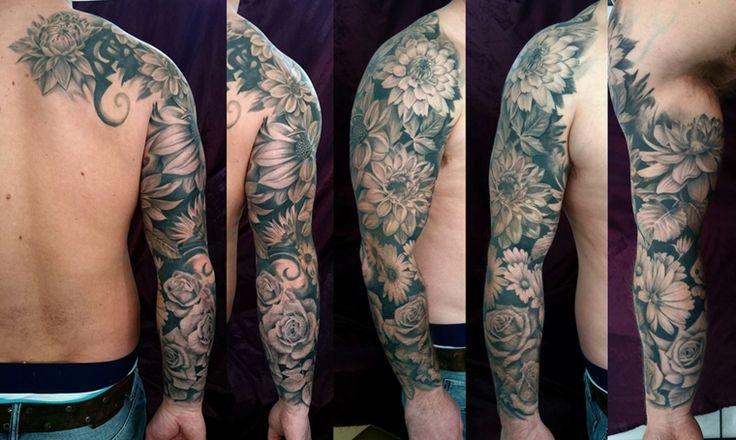tatuajes media manga hombre modernos