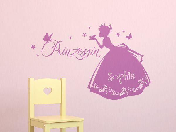 Simple Wandtattoo Prinzessin Wunschname Niedliches Prinzessinnenmotiv f rs Kinderzimmer Idividualisierbar mit dem Namen Ihres Kindes Niedliches Prinzessinnenmotiv