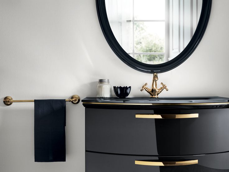 Gold finish (with metal feet and handles, cabinet frames and profiles under the tops in Iron Grey glass and built-in washbasins) and Iron Grey glossy lacquer.  Glamour italian #design.