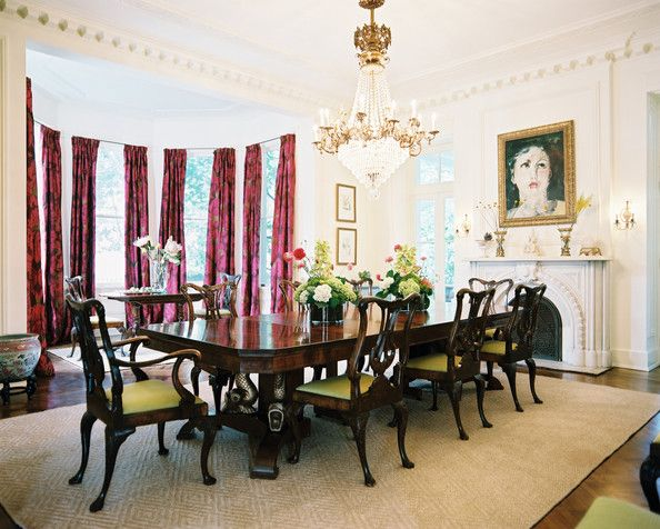 Dining Room Green Photo   Chippendale Dining Chairs And Pink Curtains In A  Formal Dining Space