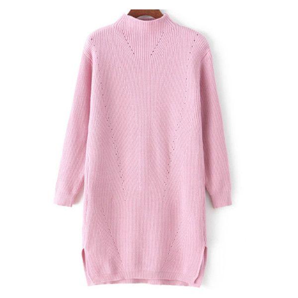 Mock Neck Dip Hem Split Pink Sweater Dress ($26) ❤ liked on Polyvore featuring dresses, sweater dresses, dip hem dresses, pink day dress, hi lo dresses and mullet dress