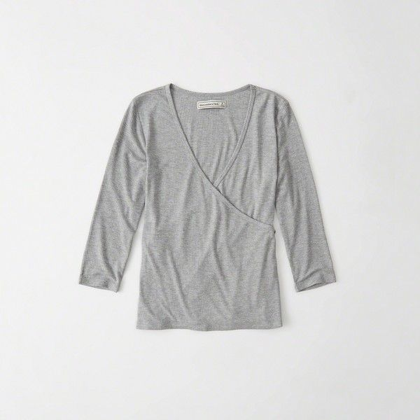 Abercrombie & Fitch Wrap Front Top ($34) ❤ liked on Polyvore featuring tops, grey, wrap front top, ribbed v neck top, wrap tie top, grey top and jersey top
