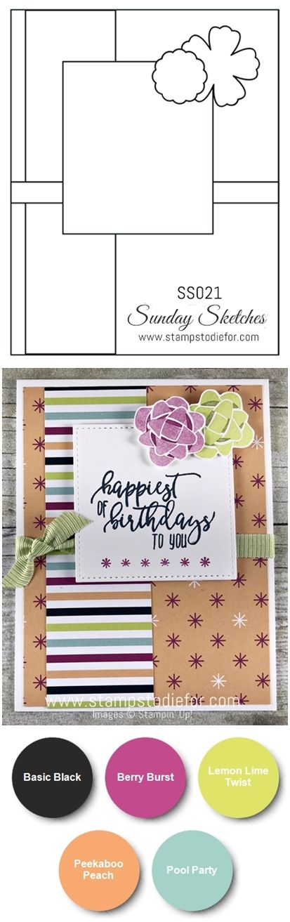Sunday Sketches Card Sketch SS021 Handmade Birthday Card using Picture Perfect Birthday stamp set