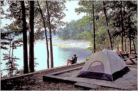 Lakefront camping - Devils Fork State Park - Salem, SC