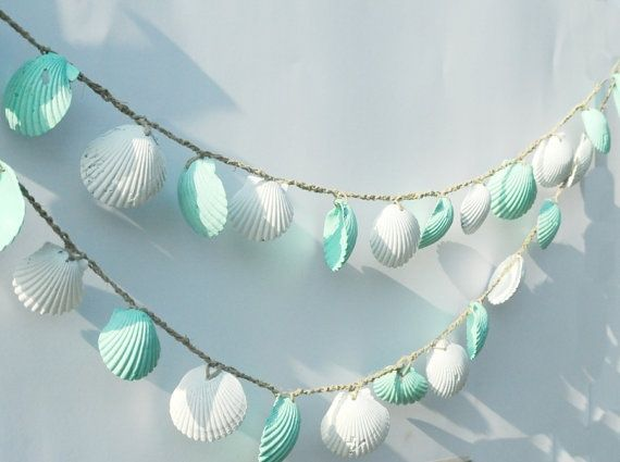seashell garland beach wedding decoration mint green and white - Beach Decorations