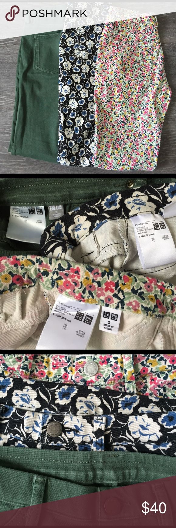 Uniqlo legging pants (3) 3 pairs of Uniqlo legging pants, all size Small. Each worn a few times, practically brand new, great condition. They're soft & comfortable, and fit as expected. Forest green, colorful spring floral pattern, black/white/blue floral pattern. $40 for all 3 OBO. Uniqlo Pants Leggings