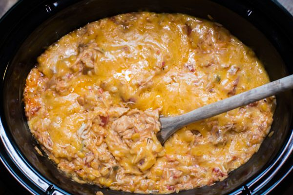 Slow Cooker Fiesta Chicken and Rice Casserole is a creamy and hearty dinner!