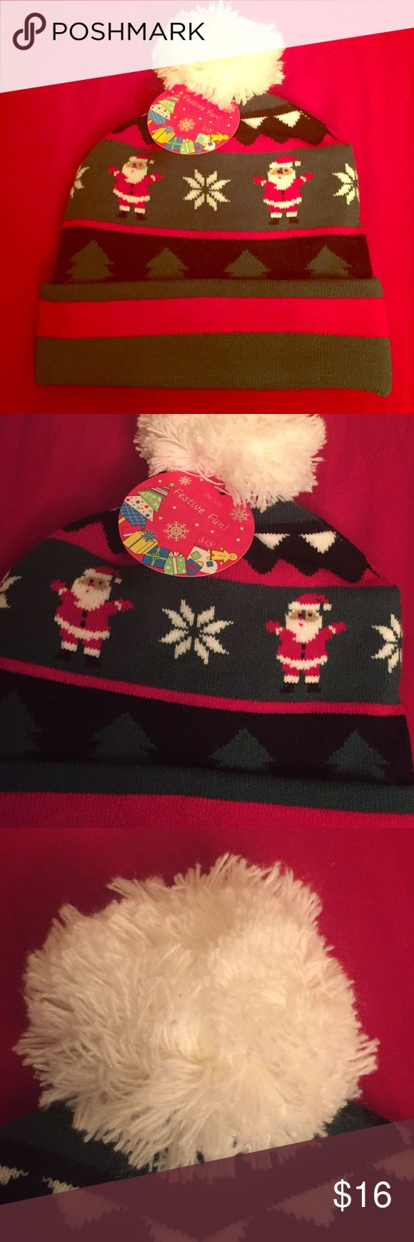🆕 Holiday Pom Pom Beanie 🎅🏽 Festive Fun Holiday Beanie. Girls & Women. Also Unisex. OSFM. Colors: Mainly Forest Green and Red. Designs include Snowflakes & Santas. Also Diamonds & Stripes. Cuffed. White Pom Pom. Appears to be Acrylic. Label does not say. Brand New. Excellent Condition. No Trades.🎅🏽 Capelli of New York Accessories Hats